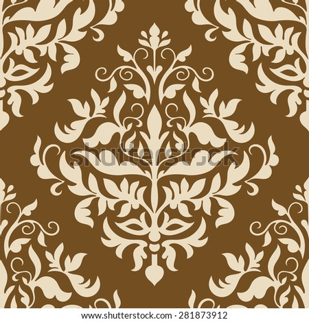 Damask beautiful background with rich, old style, luxury ornamentation, black, beige fashioned seamless pattern, royal vector wallpaper, floral wrapping paper, swatch fabric for decoration and design - stock vector