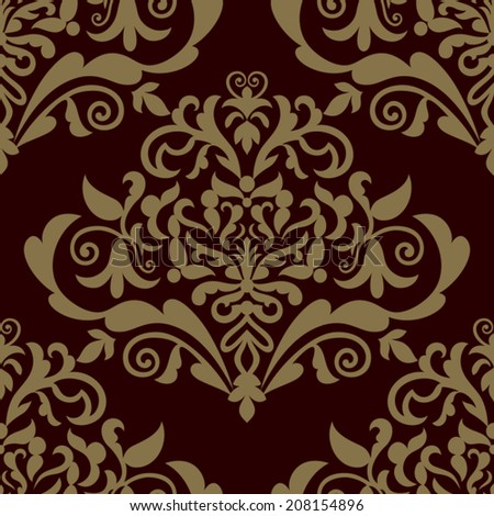 Damask beautiful background with rich, old style, luxury ornamentation, fashioned seamless pattern, royal vector wallpaper, floral wrapping paper, swatch fabric for decoration and design - stock vector