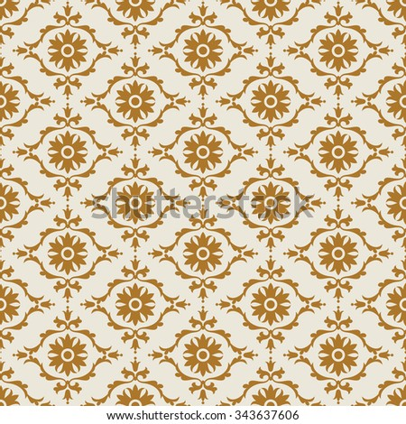 Damask beautiful background with rich, old style, luxury ornamentation, gold fashioned seamless pattern, royal vector wallpaper, floral wrapping paper, swatch fabric for decoration and design - stock vector