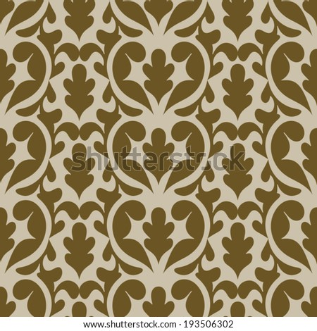 Damask beautiful backgrounds, fashioned seamless patterns, beige vector wallpaper, floral wrapping paper, sketch of fabric for decoration and design - stock vector