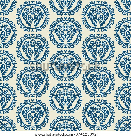 Damask beautiful pattern with beautiful ornament, Vintage style fashioned seamless background, floral vector wallpaper, retro wrapping paper, swatch, fabric for decoration and design - stock vector