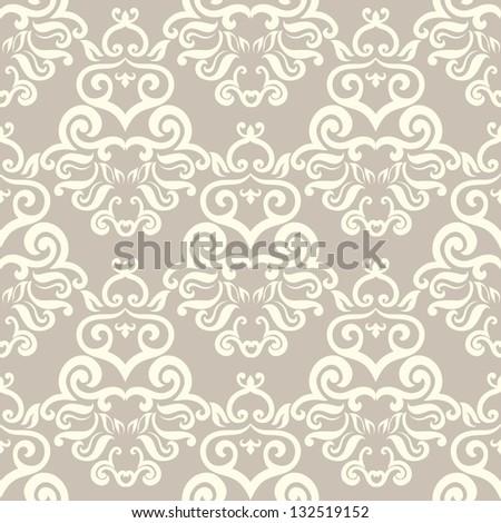 Damask elegant light wallpaper - stock vector