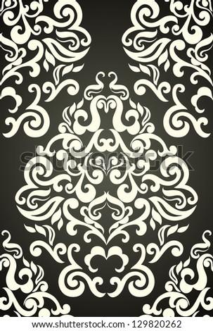 Damask floral wallpaper pattern, elegant, - stock vector