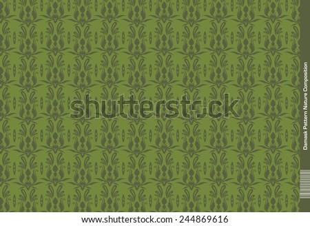 Damask Pattern - Green Nature - stock vector