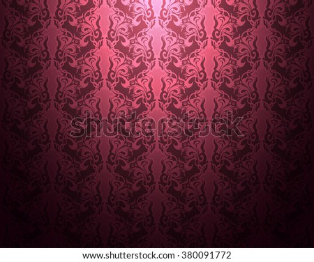 Damask pattern magenta abstract background vector