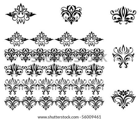 Damask patterns and borders for design and ornate. Jpeg version also available in gallery - stock vector