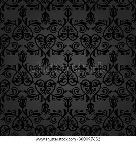 Damask seamless dark ornament. Fine vector traditional oriental pattern.