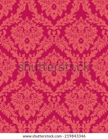 Damask seamless floral background pattern.  - stock vector