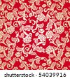 Damask seamless floral background pattern. Vector illustration. - stock vector