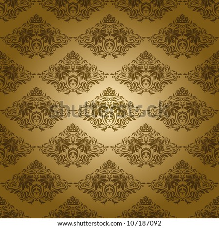 Damask seamless floral pattern. Flowers on a gold background. EPS 10