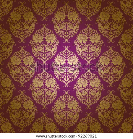 Damask seamless floral pattern. Flowers on a purple background. EPS 10 - stock vector