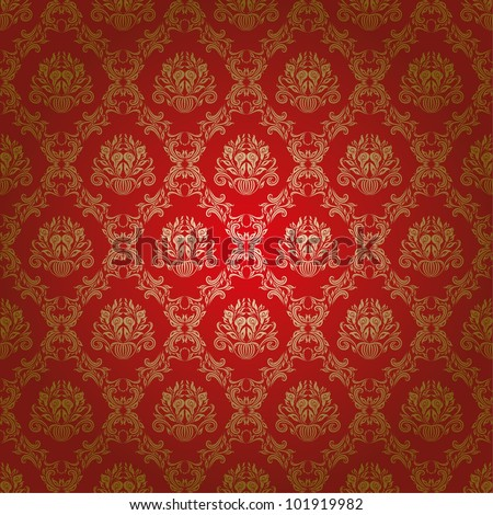 Damask seamless floral pattern. Flowers on a red background. EPS 10 - stock vector