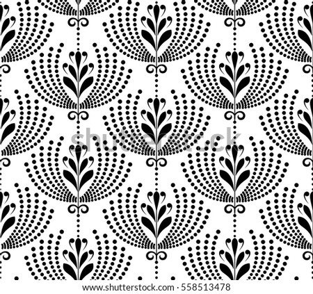 Damask Seamless Floral Pattern Royal Vector Wallpaper Flowers On A Black And White Background