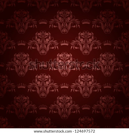 Damask seamless floral pattern. Royal wallpaper. Flowers and crowns on a brown background. EPS 10 - stock vector