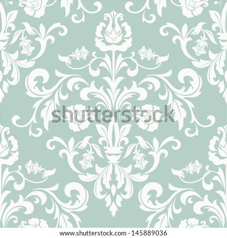 Damask seamless floral pattern. Royal wallpaper. Flowers on a blue background. - stock vector