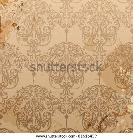 Damask seamless floral pattern. Vintage vector illustration. - stock vector