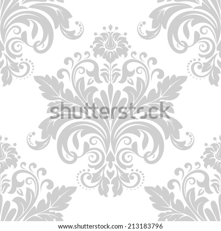 Damask seamless floral pattern.  Wallpaper in the style of Baroque. A seamless vector background. - stock vector