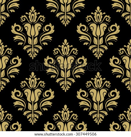 Damask seamless ornament. Fine vector traditional oriental gold pattern - stock vector
