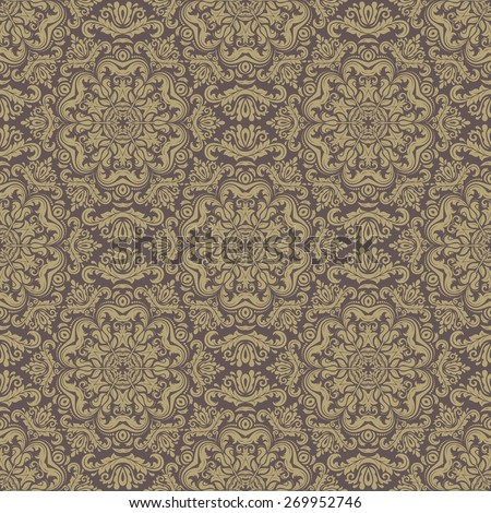 Damask seamless pattern. Fine vector traditional ornament with oriental elements. Brown and golden colors