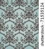 Damask seamless pattern in retro style with floral elements. Could be used as textile, wallpaper, wrapping paper, etc - stock photo
