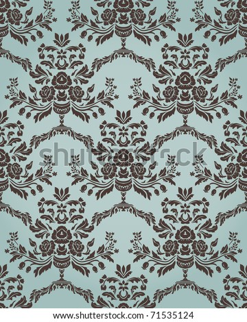 Damask seamless pattern in retro style with floral elements. Could be used as textile, wallpaper, wrapping paper, etc - stock vector