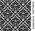 Damask seamless pattern in white and black colors for background design. Jpeg version also available in gallery. - stock photo