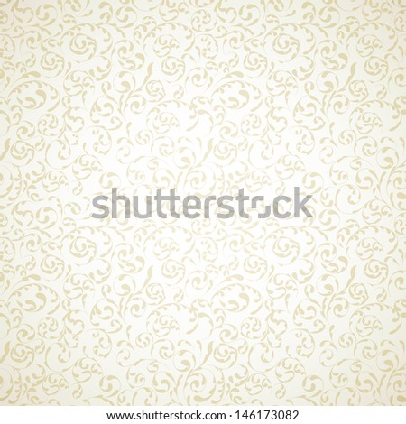 Damask seamless pattern on light beige background - stock vector