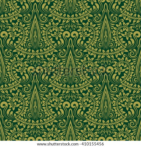 Damask seamless pattern repeating background. Green floral ornament in baroque style. Antique repeatable wallpaper design.