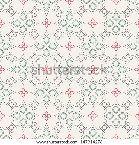 Damask seamless pattern. Symmetrical colorful tracery texture. Beautiful template for tile, wallpaper, curtain, wrapping and many more. Vector format is easy to edit and change colors.  - stock vector