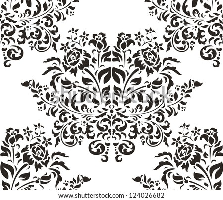 Damask seamless pattern with roses on white background - stock vector