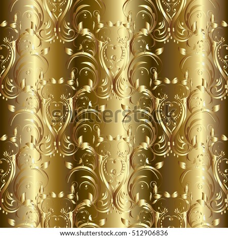 Damask seamless pattern. With vintage decorative gold 3d flowers, leaves and flourish damask ornaments. Modern gold monochrome  background.Floral elegant gold baroque  wallpaper.Luxury endless texture