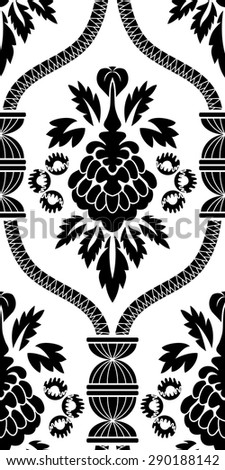Damask Seamless Vector Pattern.  Elegant Design in Baroque Style Background. Floral and Swirl Element. Black and White Color. Ideal for Textile Print and Wallpapers. - stock vector