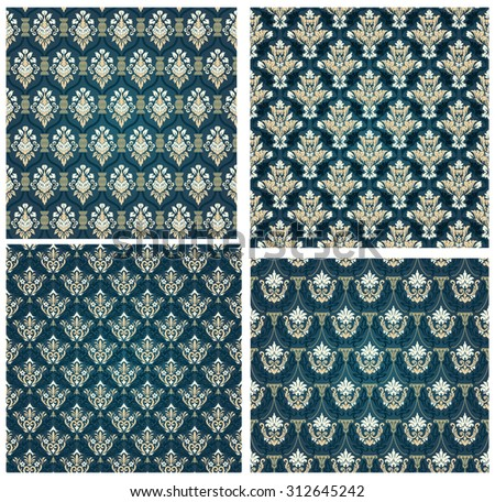 Damask Seamless Vector Pattern Set.  Elegant Design in Royal  Baroque Style Background Texture. Floral and Swirl Elements. Ideal for Textile Print and Wallpapers. Vector Illustration. - stock vector