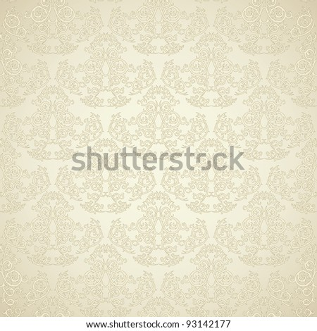 Damask seamless wallpaper on beige  background. Stylish and luxury - stock vector