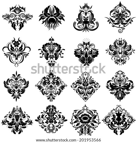 Damask set of Elegant Floral abstract design elements. Black Vector Pattern on a White background.