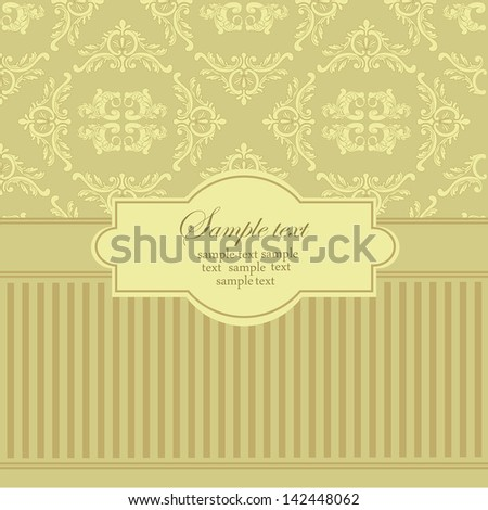 Damask style. Abstract vector greeting card.  Wedding card or invitation with abstract background. Perfect for invitations.