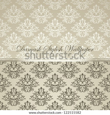 Damask stylish wallpaper. Can be used as business, visiting card, album cover, Menu etc - stock vector