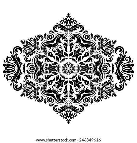 Damask vector floral pattern with arabesque and oriental elements. Abstract traditional ornament for backgrounds. Black and white colors - stock vector