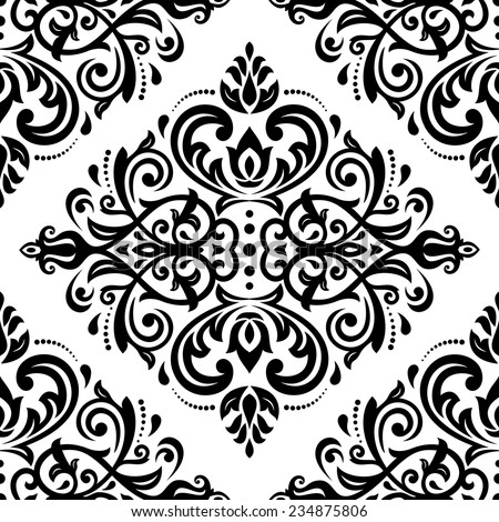 Damask vector floral pattern with arabesque and oriental elements. Seamless abstract traditional ornament for wallpapers and backgrounds. Black and white colors - stock vector