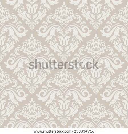 Damask vector floral pattern with arabesque and oriental pink elements. Seamless abstract traditional ornament for wallpapers and backgrounds - stock vector