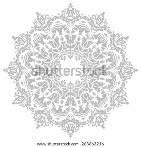 Damask vector floral pattern with grey arabesque and oriental elements. Abstract traditional ornament for backgrounds - stock vector