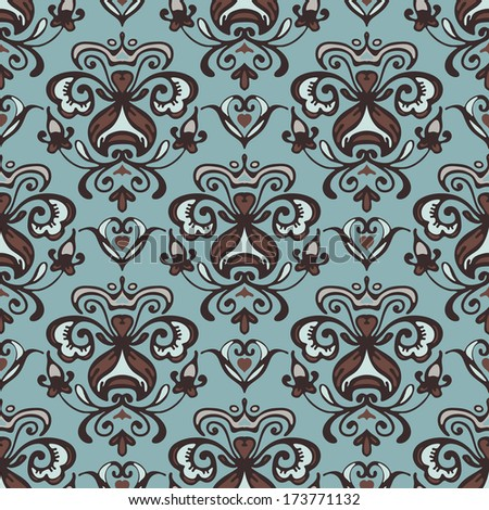 Damask vector pattern flourishes