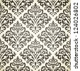 Damask vintage seamless pattern on beige background - stock vector