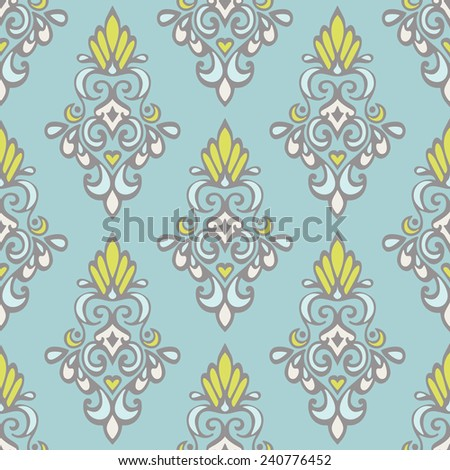 Damask vintage seamless pattern tiles. vector design - stock vector