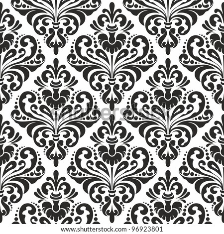 Damask wallpaper, black and white seamless pattern - stock vector