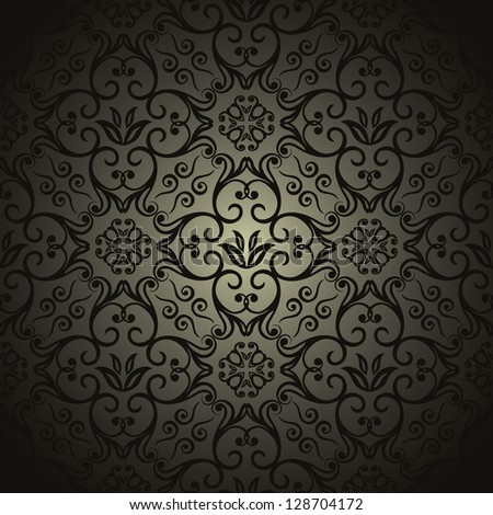 Damask wallpaper, black design - stock vector