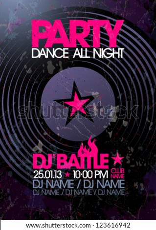 Dance All Night. Party design template with place for text. - stock vector