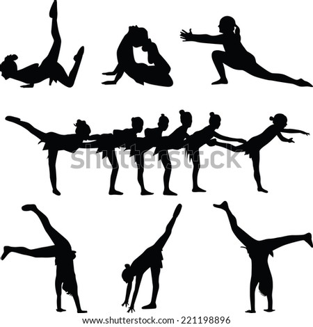 dance and gymnastic silhouette vector - stock vector