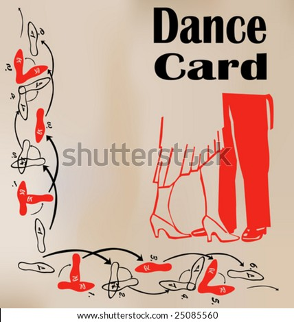 Stock Vector Dance Card on Waltz Dance Steps Diagram