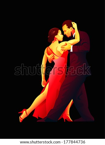 Dance pair in tango passion isolated over black - stock vector